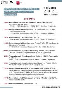 Programme JPO Université de Rouen du 06/02/2021